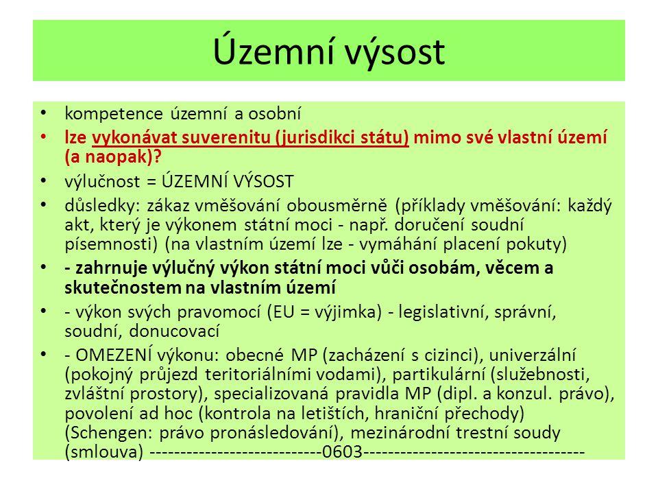 Územní výsost kompetence územní a osobní lze vykonávat suverenitu (jurisdikci státu) mimo své vlastní území (a naopak).