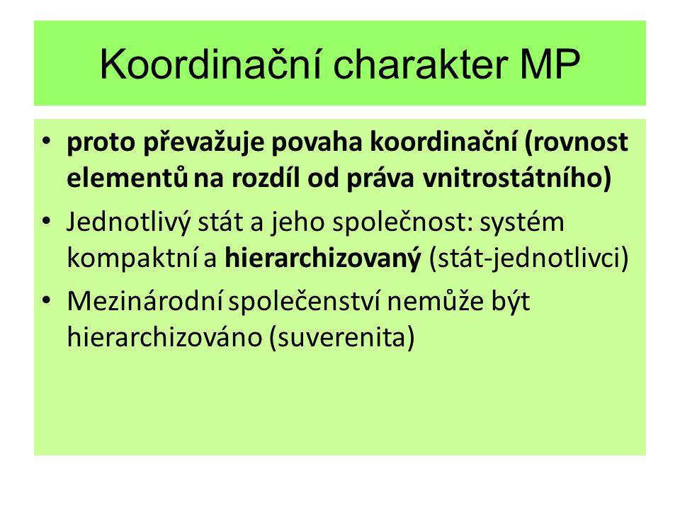 Koordinační charakter MP proto převažuje povaha koordinační (rovnost elementů na rozdíl od práva vnitrostátního) Jednotlivý stát a jeho společnost: systém kompaktní a hierarchizovaný (stát-jednotlivci) Mezinárodní společenství nemůže být hierarchizováno (suverenita)