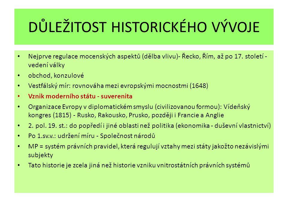 DŮLEŽITOST HISTORICKÉHO VÝVOJE Nejprve regulace mocenských aspektů (dělba vlivu)- Řecko, Řím, až po 17.