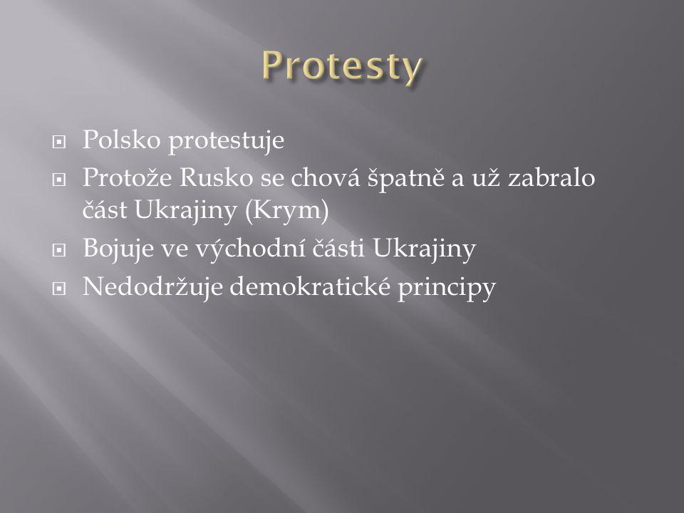  Polsko protestuje  Protože Rusko se chová špatně a už zabralo část Ukrajiny (Krym)  Bojuje ve východní části Ukrajiny  Nedodržuje demokratické principy
