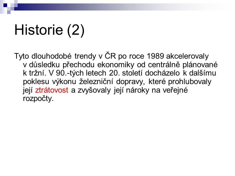Historie (2) Tyto dlouhodobé trendy v ČR po roce 1989 akcelerovaly v důsledku přechodu ekonomiky od centrálně plánované k tržní.