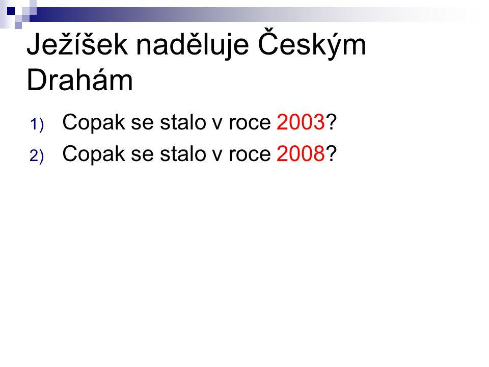 Ježíšek naděluje Českým Drahám 1) Copak se stalo v roce 2003 2) Copak se stalo v roce 2008