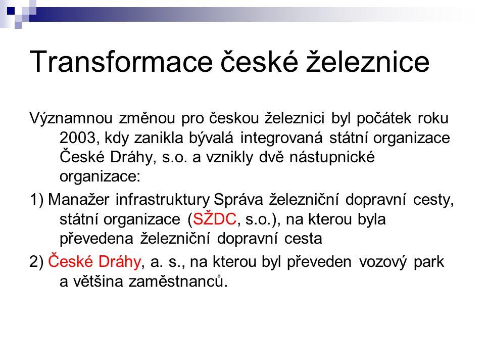 Transformace české železnice Významnou změnou pro českou železnici byl počátek roku 2003, kdy zanikla bývalá integrovaná státní organizace České Dráhy, s.o.