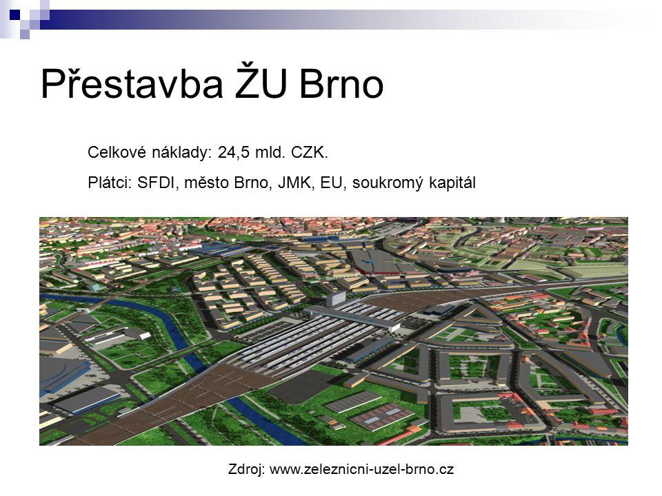 Přestavba ŽU Brno Celkové náklady: 24,5 mld. CZK.