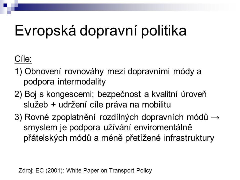 Evropská dopravní politika Cíle: 1) Obnovení rovnováhy mezi dopravními módy a podpora intermodality 2) Boj s kongescemi; bezpečnost a kvalitní úroveň služeb + udržení cíle práva na mobilitu 3) Rovné zpoplatnění rozdílných dopravních módů → smyslem je podpora užívání enviromentálně přátelských módů a méně přetížené infrastruktury Zdroj: EC (2001): White Paper on Transport Policy