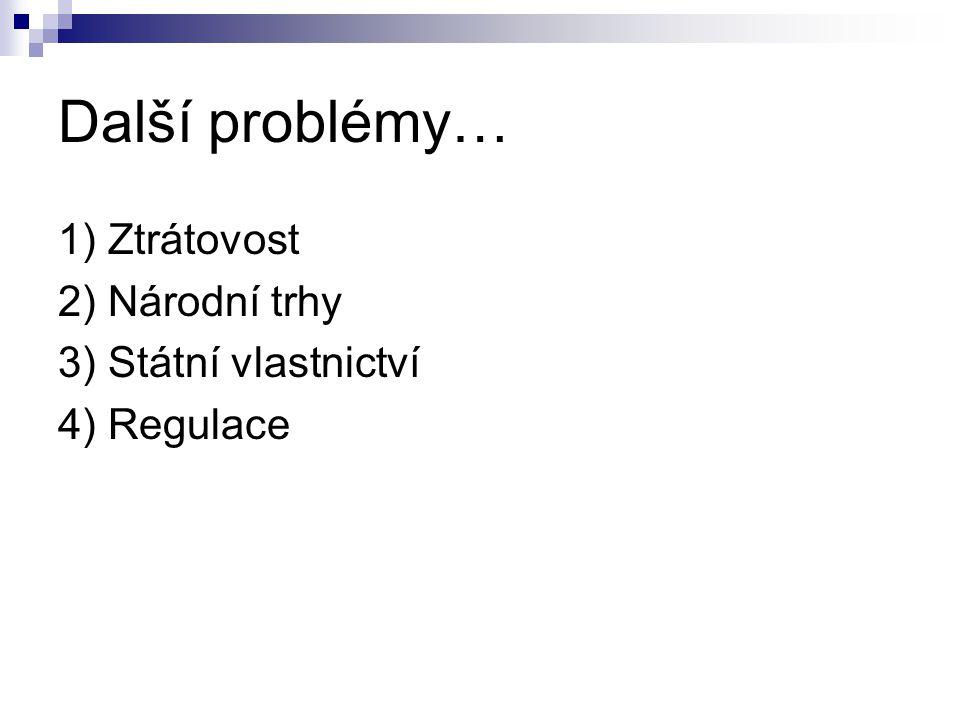 Další problémy… 1) Ztrátovost 2) Národní trhy 3) Státní vlastnictví 4) Regulace