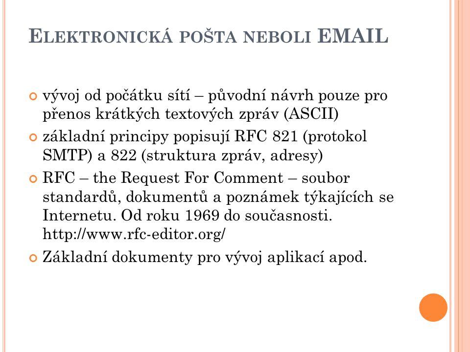 E LEKTRONICKÁ POŠTA NEBOLI EMAIL vývoj od počátku sítí – původní návrh pouze pro přenos krátkých textových zpráv (ASCII) základní principy popisují RFC 821 (protokol SMTP) a 822 (struktura zpráv, adresy) RFC – the Request For Comment – soubor standardů, dokumentů a poznámek týkajících se Internetu.
