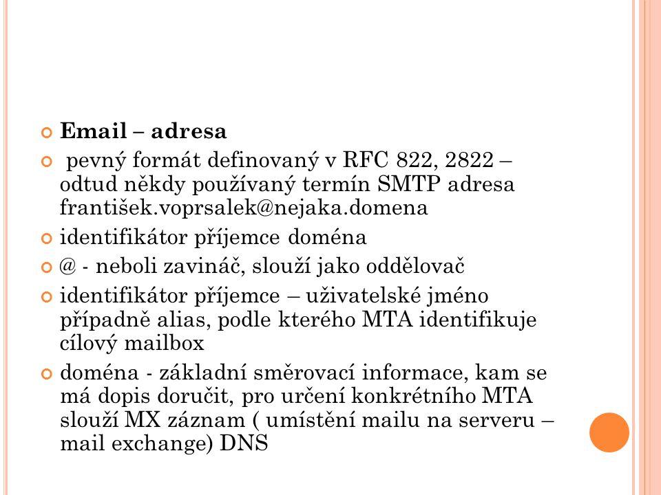 Email – adresa pevný formát definovaný v RFC 822, 2822 – odtud někdy používaný termín SMTP adresa františek.voprsalek@nejaka.domena identifikátor příjemce doména @ - neboli zavináč, slouží jako oddělovač identifikátor příjemce – uživatelské jméno případně alias, podle kterého MTA identifikuje cílový mailbox doména - základní směrovací informace, kam se má dopis doručit, pro určení konkrétního MTA slouží MX záznam ( umístění mailu na serveru – mail exchange) DNS