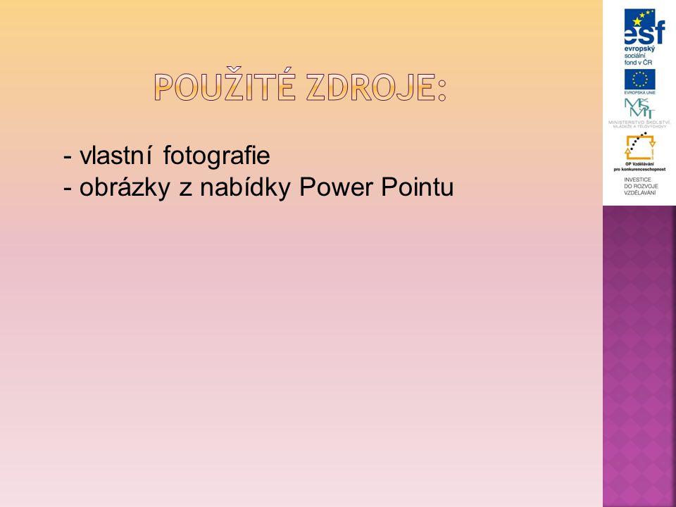 - vlastní fotografie - obrázky z nabídky Power Pointu