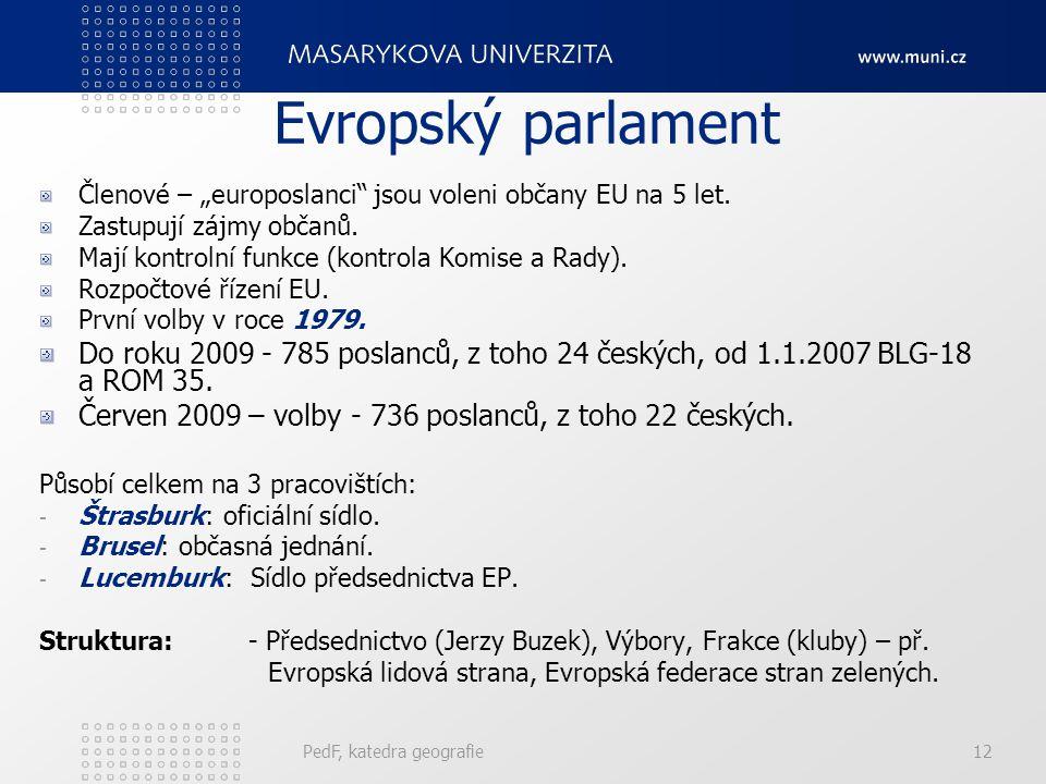 """Členové – """"europoslanci"""" jsou voleni občany EU na 5 let. Zastupují zájmy občanů. Mají kontrolní funkce (kontrola Komise a Rady). Rozpočtové řízení EU."""