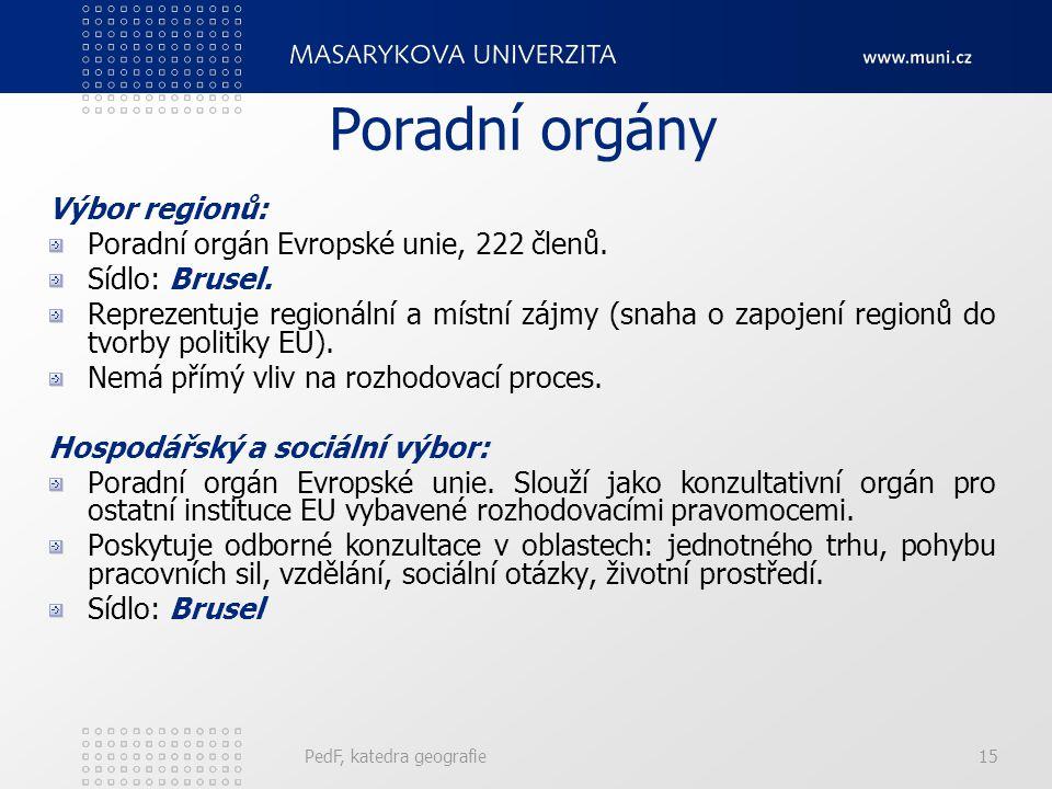 Poradní orgány Výbor regionů: Poradní orgán Evropské unie, 222 členů. Sídlo: Brusel. Reprezentuje regionální a místní zájmy (snaha o zapojení regionů