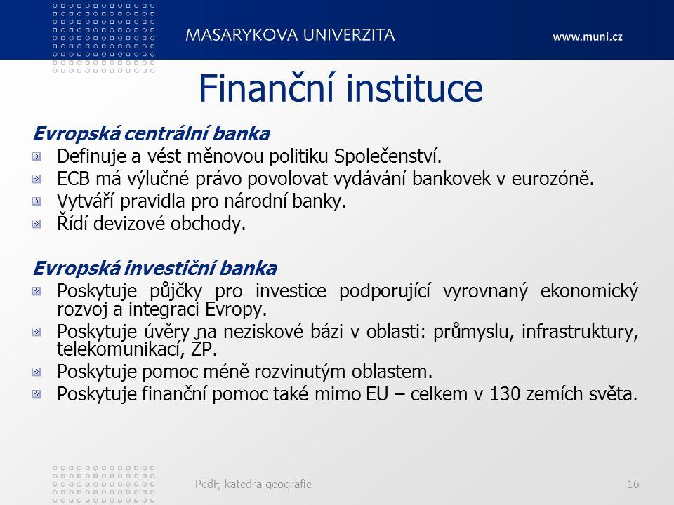 Finanční instituce Evropská centrální banka Definuje a vést měnovou politiku Společenství. ECB má výlučné právo povolovat vydávání bankovek v eurozóně