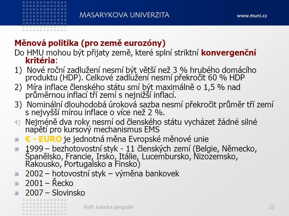 Měnová politika (pro země eurozóny) Do HMU mohou být přijaty země, které splní striktní konvergenční kritéria: 1) Nové roční zadlužení nesmí být větší