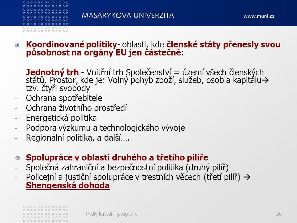 Koordinované politiky- oblasti, kde členské státy přenesly svou působnost na orgány EU jen částečně: - Jednotný trh - Vnitřní trh Společenství = území
