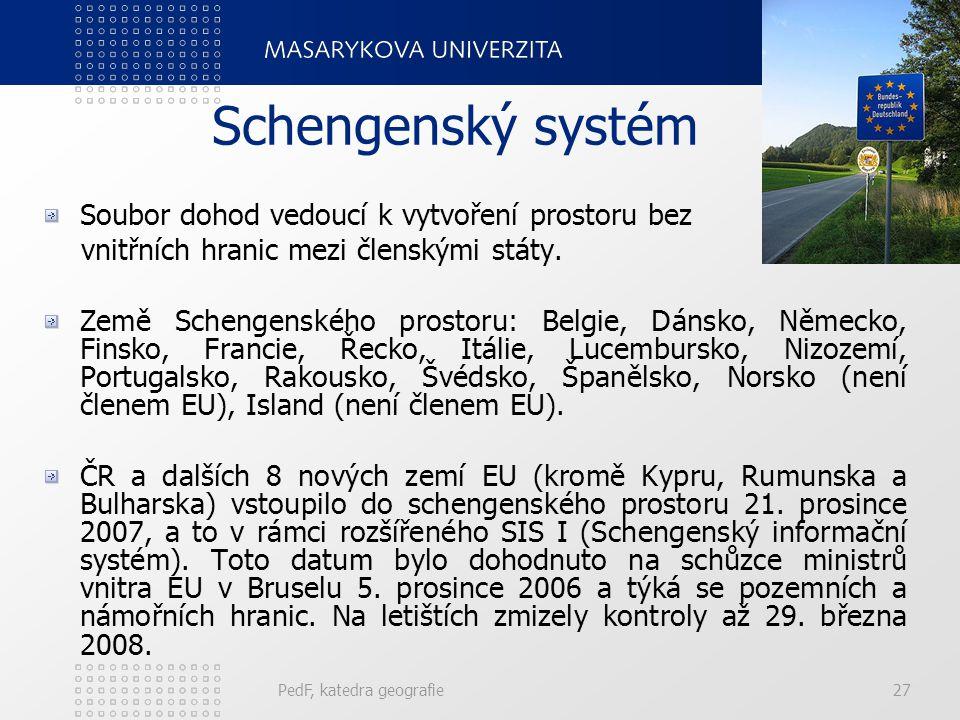 Schengenský systém Soubor dohod vedoucí k vytvoření prostoru bez vnitřních hranic mezi členskými státy. Země Schengenského prostoru: Belgie, Dánsko, N