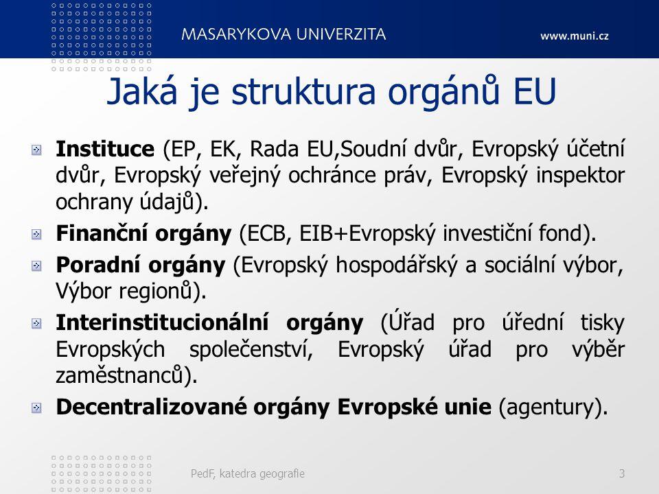 Finanční nástroje regionální a strukturální politiky Strukturální fondy: - ERDF - ESF - EAGGF - FIFG Fond soudržnosti (Kohezní fond) Evropská investiční banka Iniciativy Společenství Komunitární programy PedF, katedra geografie34