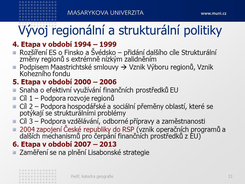 Vývoj regionální a strukturální politiky 4. Etapa v období 1994 – 1999 Rozšíření ES o Finsko a Švédsko – přidání dalšího cíle Strukturální změny regio