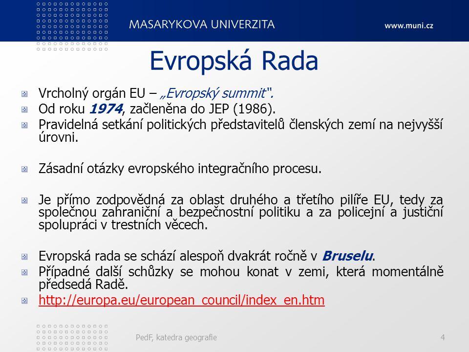Informační zdroje http://eulaw.typepad.com/http://eulaw.typepad.com/ - Evropské právo http://europe.eu.int/eur-lex/http://europe.eu.int/eur-lex/ - Monitoring práva EU http://integrace.cz http://europa.eu.int http://euroskop.cz http://euractiv.com/ PedF, katedra geografie35