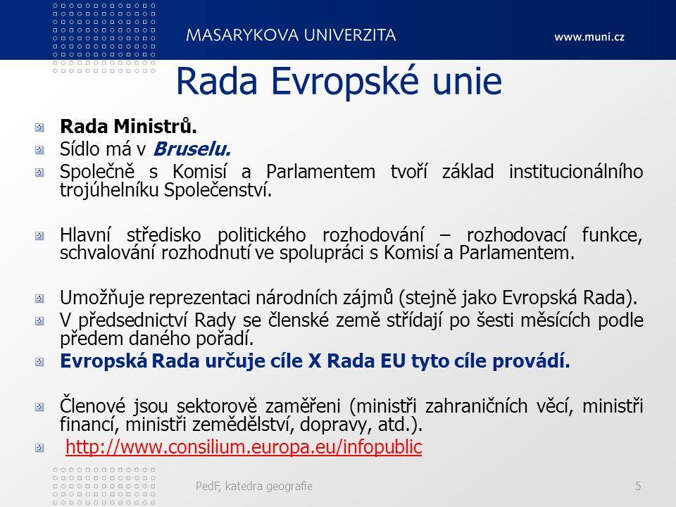 Rada Evropské unie Předsednictví EU - Umožňuje realizovat priority jednotlivých zemí - Vykonáváno postupně všemi členy ES - 2006: Rakousko a Finsko - 2007: Německo, Portugalsko - 2008: Slovinsko, Francie - 2009: Česká republika, Švédsko  Evropskou radu jakožto politický orgán Evropské unie nelze zaměňovat s Radou EU (=Radou ministrů), která je legislativním a výkonným orgánem Evropské unie ani s Radou Evropy, která je nezávislou mezinárodní organizací.