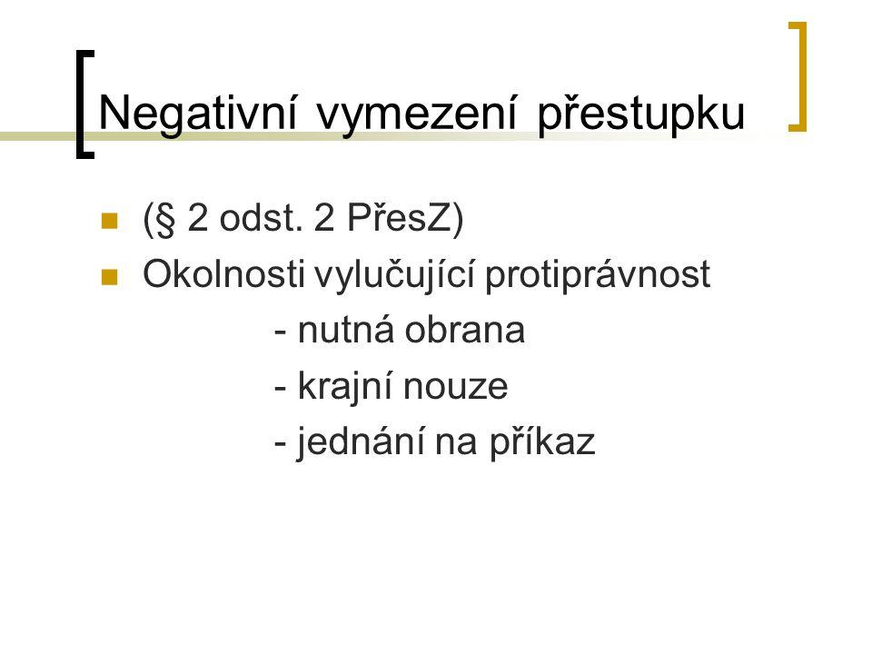 Negativní vymezení přestupku (§ 2 odst.
