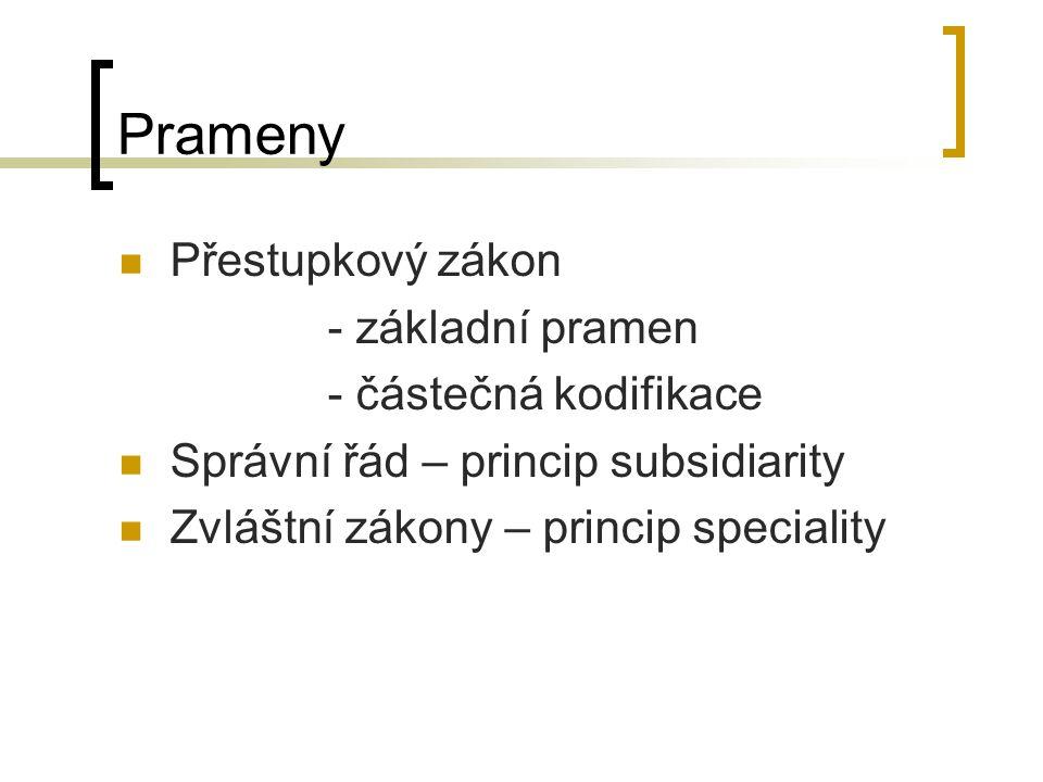 Prameny Přestupkový zákon - základní pramen - částečná kodifikace Správní řád – princip subsidiarity Zvláštní zákony – princip speciality