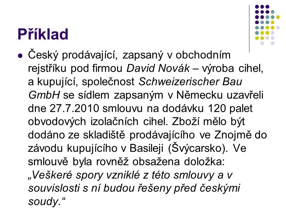 Příklad Český prodávající, zapsaný v obchodním rejstříku pod firmou David Novák – výroba cihel, a kupující, společnost Schweizerischer Bau GmbH se síd