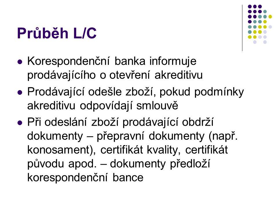 Průběh L/C Korespondenční banka informuje prodávajícího o otevření akreditivu Prodávající odešle zboží, pokud podmínky akreditivu odpovídají smlouvě P