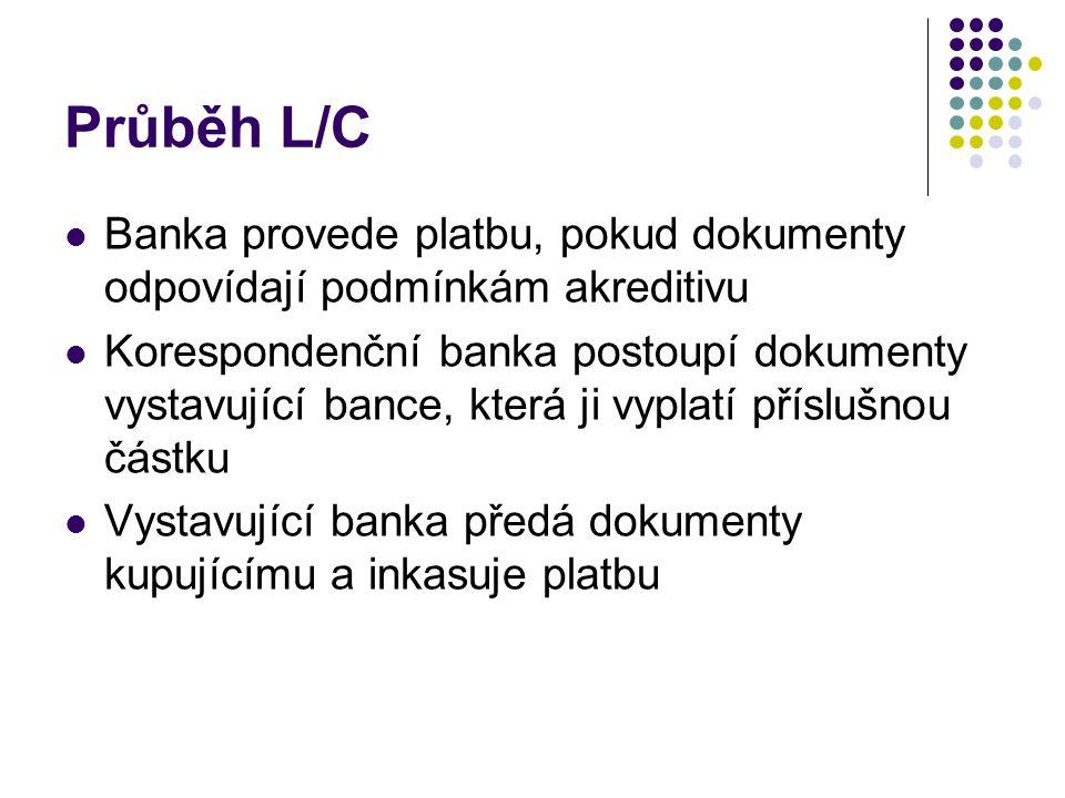 Průběh L/C Banka provede platbu, pokud dokumenty odpovídají podmínkám akreditivu Korespondenční banka postoupí dokumenty vystavující bance, která ji v