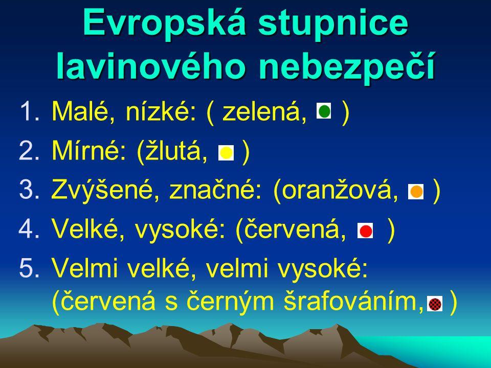 Evropská stupnice lavinového nebezpečí 1.Malé, nízké: ( zelená, ) 2.Mírné: (žlutá, ) 3.Zvýšené, značné: (oranžová, ) 4.Velké, vysoké: (červená, ) 5.Velmi velké, velmi vysoké: (červená s černým šrafováním, )