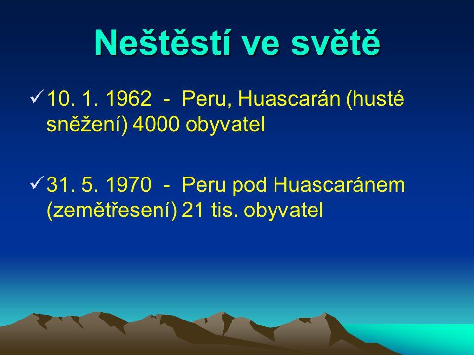 Neštěstí ve světě 10.1. 1962 - Peru, Huascarán (husté sněžení) 4000 obyvatel 31.