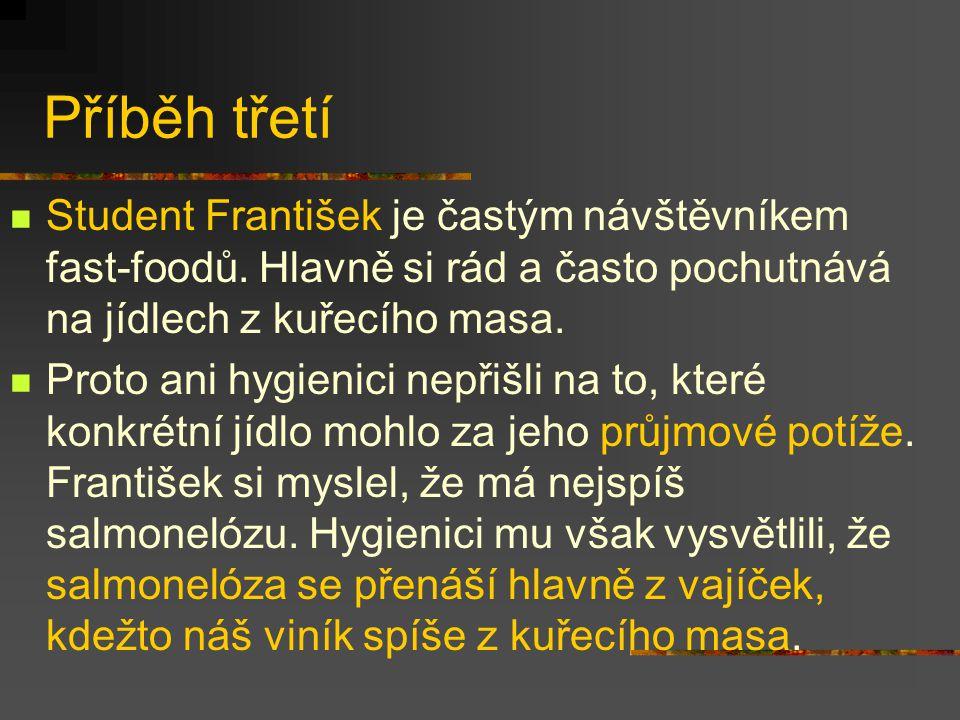 Příběh třetí Student František je častým návštěvníkem fast-foodů. Hlavně si rád a často pochutnává na jídlech z kuřecího masa. Proto ani hygienici nep