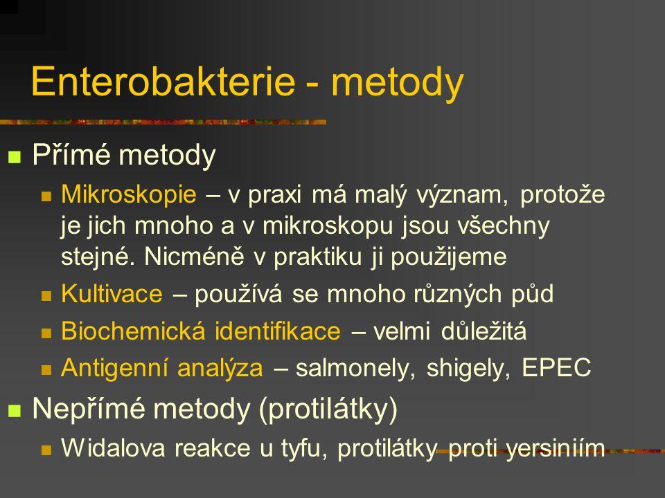Enterobakterie - metody Přímé metody Mikroskopie – v praxi má malý význam, protože je jich mnoho a v mikroskopu jsou všechny stejné. Nicméně v praktik