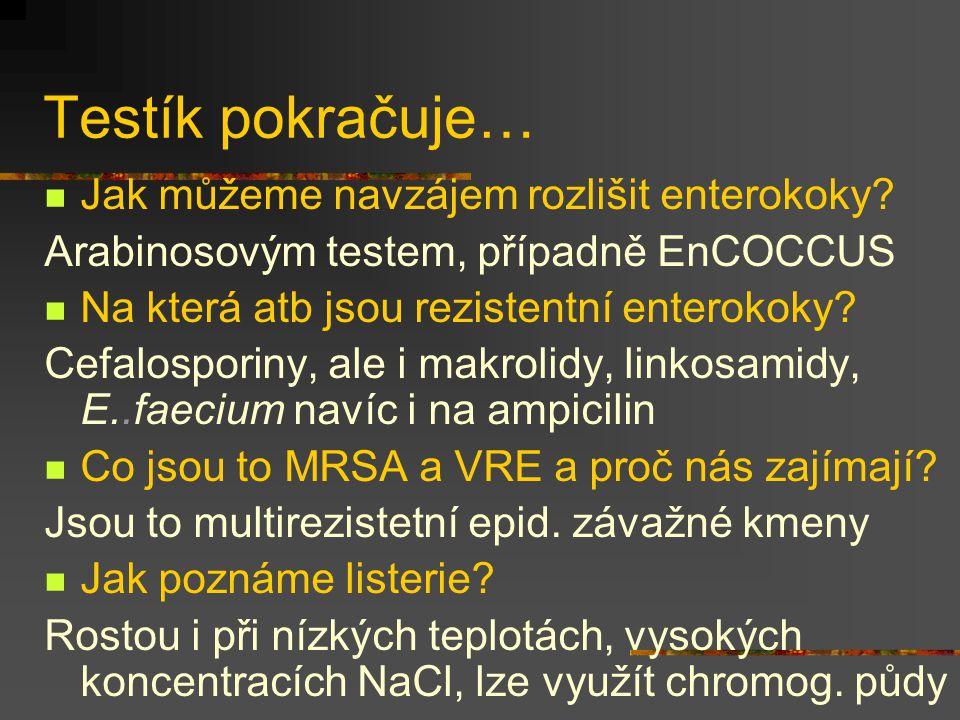 Testík pokračuje… Jak můžeme navzájem rozlišit enterokoky? Arabinosovým testem, případně EnCOCCUS Na která atb jsou rezistentní enterokoky? Cefalospor