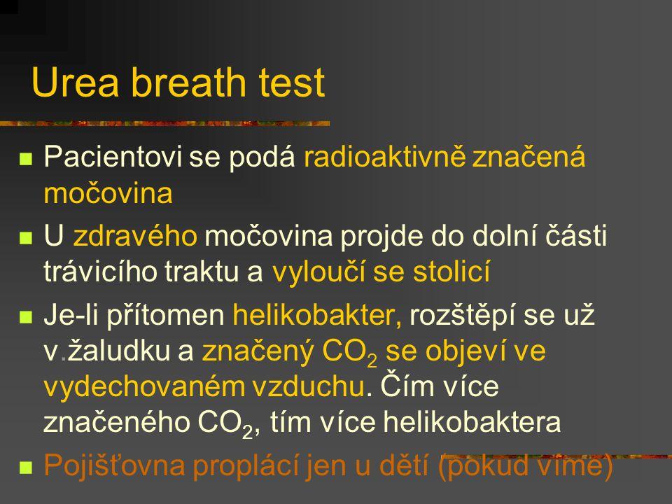 Urea breath test Pacientovi se podá radioaktivně značená močovina U zdravého močovina projde do dolní části trávicího traktu a vyloučí se stolicí Je-l