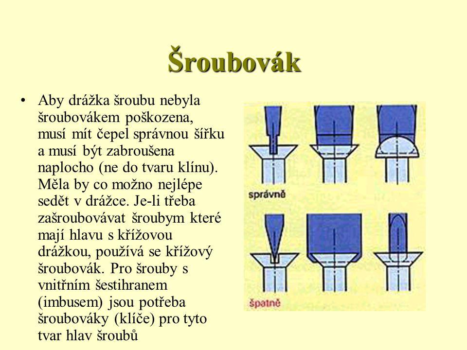Šroubovák Šoubovák se skládá z čepele a z rukojeti.