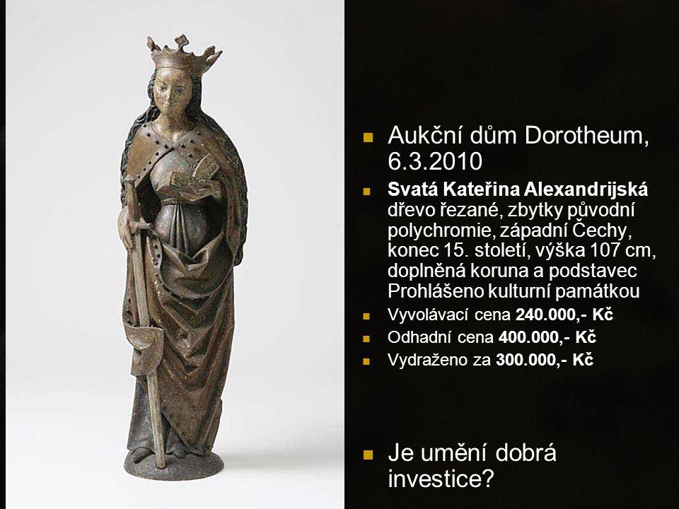 Aukční dům Dorotheum, 6.3.2010 Svatá Kateřina Alexandrijská dřevo řezané, zbytky původní polychromie, západní Čechy, konec 15.