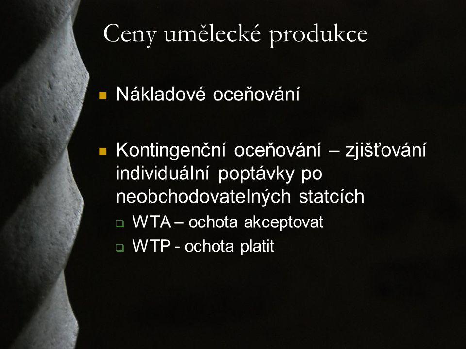 Ceny umělecké produkce Nákladové oceňování Kontingenční oceňování – zjišťování individuální poptávky po neobchodovatelných statcích  WTA – ochota akceptovat  WTP - ochota platit
