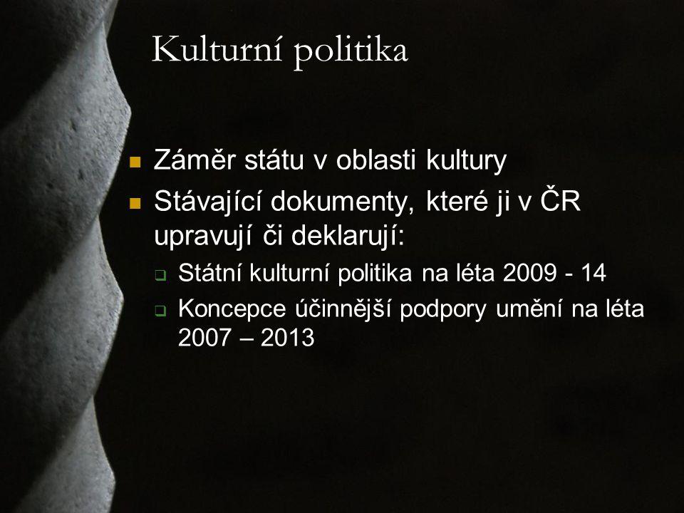 Kulturní politika Záměr státu v oblasti kultury Stávající dokumenty, které ji v ČR upravují či deklarují:  Státní kulturní politika na léta 2009 - 14  Koncepce účinnější podpory umění na léta 2007 – 2013
