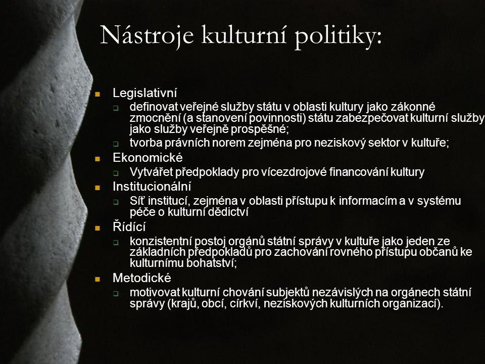 Nástroje kulturní politiky: Legislativní  definovat veřejné služby státu v oblasti kultury jako zákonné zmocnění (a stanovení povinnosti) státu zabezpečovat kulturní služby jako služby veřejně prospěšné;  tvorba právních norem zejména pro neziskový sektor v kultuře; Ekonomické  Vytvářet předpoklady pro vícezdrojové financování kultury Institucionální  Síť institucí, zejména v oblasti přístupu k informacím a v systému péče o kulturní dědictví Řídící  konzistentní postoj orgánů státní správy v kultuře jako jeden ze základních předpokladů pro zachování rovného přístupu občanů ke kulturnímu bohatství; Metodické  motivovat kulturní chování subjektů nezávislých na orgánech státní správy (krajů, obcí, církví, neziskových kulturních organizací).