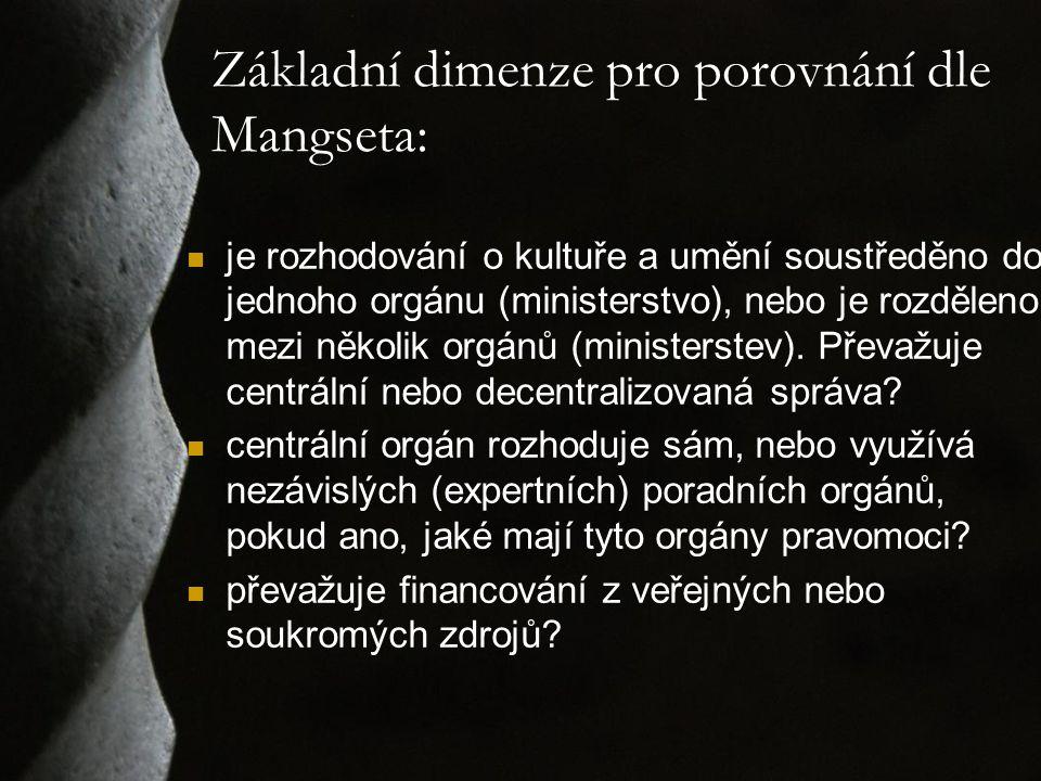 Základní dimenze pro porovnání dle Mangseta: je rozhodování o kultuře a umění soustředěno do jednoho orgánu (ministerstvo), nebo je rozděleno mezi něk