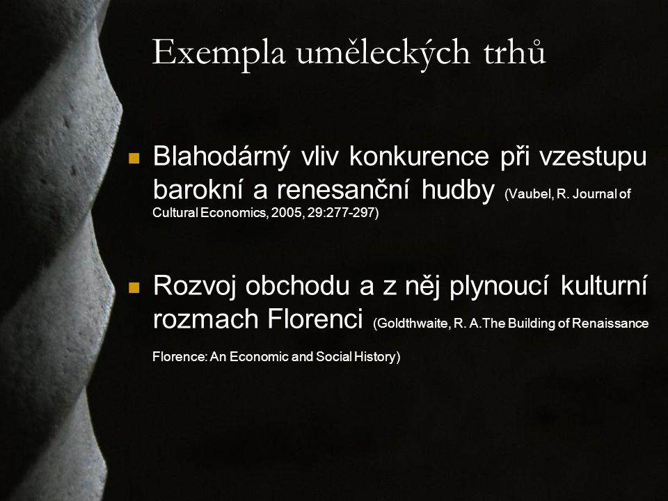 Exempla uměleckých trhů Blahodárný vliv konkurence při vzestupu barokní a renesanční hudby (Vaubel, R.