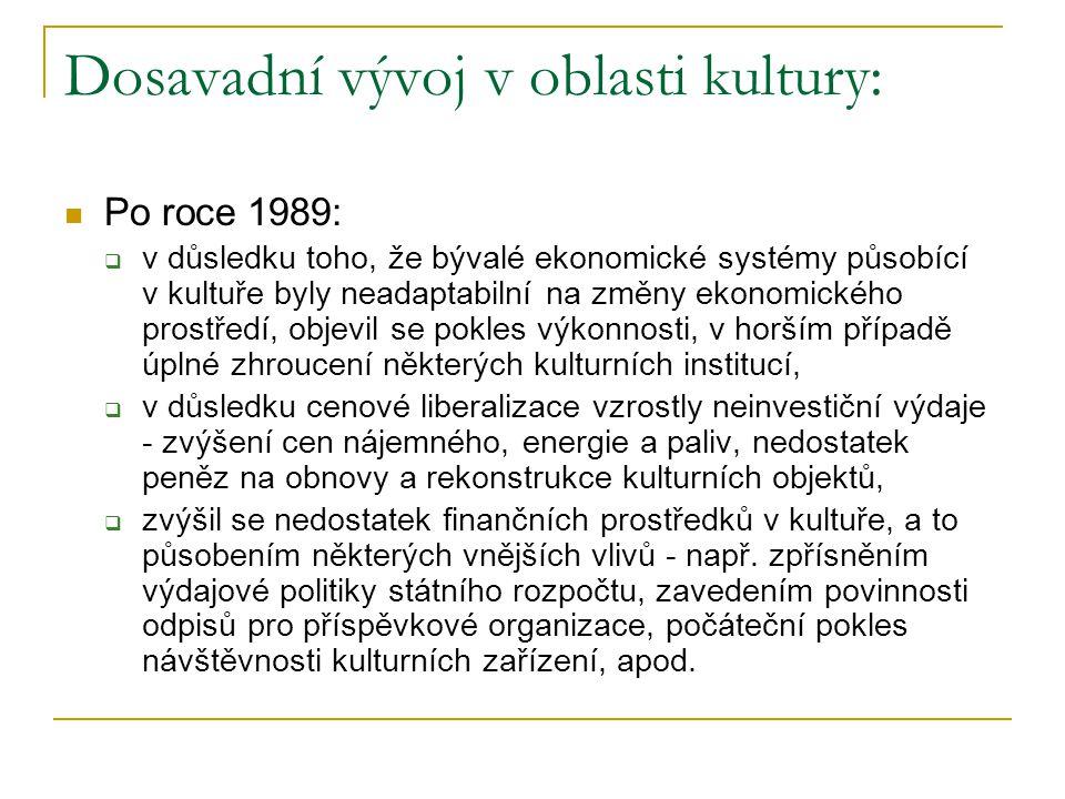 Dosavadní vývoj v oblasti kultury: Po roce 1989:  v důsledku toho, že bývalé ekonomické systémy působící v kultuře byly neadaptabilní na změny ekonom