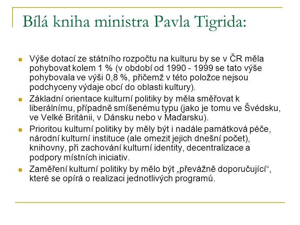 Bílá kniha ministra Pavla Tigrida: Výše dotací ze státního rozpočtu na kulturu by se v ČR měla pohybovat kolem 1 % (v období od 1990 - 1999 se tato výše pohybovala ve výši 0,8 %, přičemž v této položce nejsou podchyceny výdaje obcí do oblasti kultury).