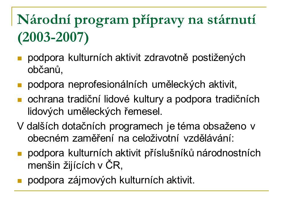 Národní program přípravy na stárnutí (2003-2007) podpora kulturních aktivit zdravotně postižených občanů, podpora neprofesionálních uměleckých aktivit, ochrana tradiční lidové kultury a podpora tradičních lidových uměleckých řemesel.