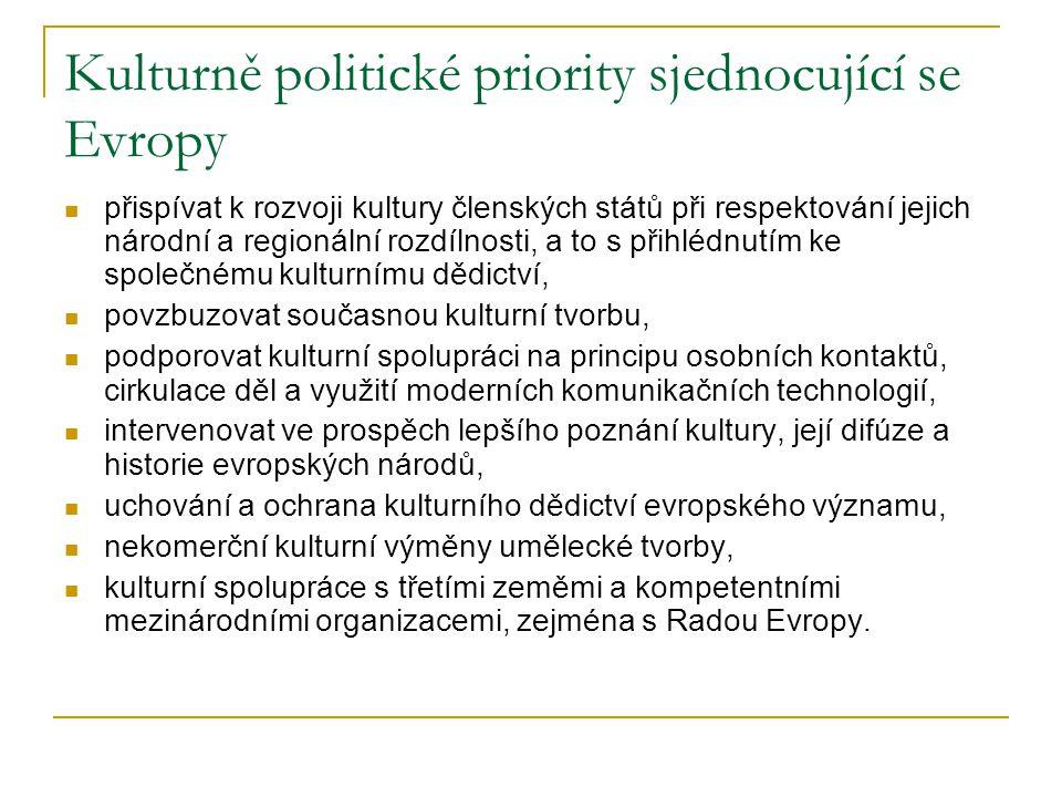 Kulturně politické priority sjednocující se Evropy přispívat k rozvoji kultury členských států při respektování jejich národní a regionální rozdílnosti, a to s přihlédnutím ke společnému kulturnímu dědictví, povzbuzovat současnou kulturní tvorbu, podporovat kulturní spolupráci na principu osobních kontaktů, cirkulace děl a využití moderních komunikačních technologií, intervenovat ve prospěch lepšího poznání kultury, její difúze a historie evropských národů, uchování a ochrana kulturního dědictví evropského významu, nekomerční kulturní výměny umělecké tvorby, kulturní spolupráce s třetími zeměmi a kompetentními mezinárodními organizacemi, zejména s Radou Evropy.