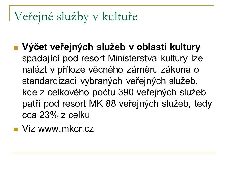 Veřejné služby v kultuře Výčet veřejných služeb v oblasti kultury spadající pod resort Ministerstva kultury lze nalézt v příloze věcného záměru zákona o standardizaci vybraných veřejných služeb, kde z celkového počtu 390 veřejných služeb patří pod resort MK 88 veřejných služeb, tedy cca 23% z celku Viz www.mkcr.cz