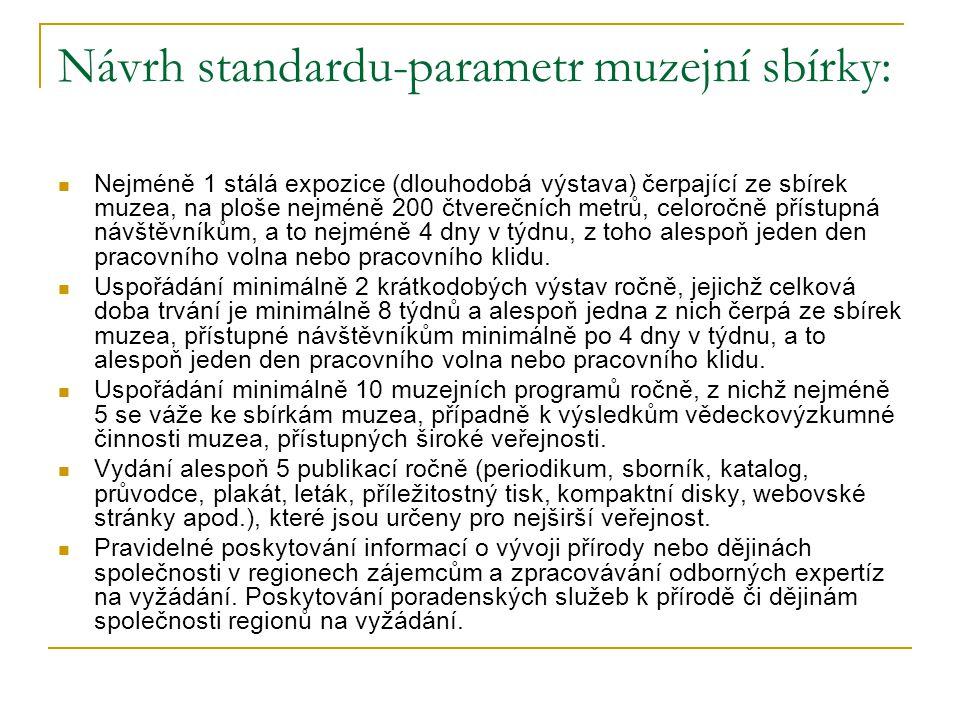 Návrh standardu-parametr muzejní sbírky: Nejméně 1 stálá expozice (dlouhodobá výstava) čerpající ze sbírek muzea, na ploše nejméně 200 čtverečních met