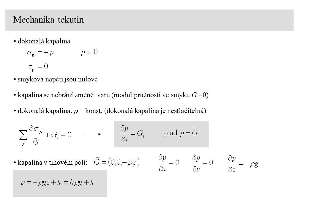 Mechanika tekutin dokonalá kapalina smyková napětí jsou nulové kapalina se nebrání změně tvaru (modul pružnosti ve smyku G =0) dokonalá kapalina:  =