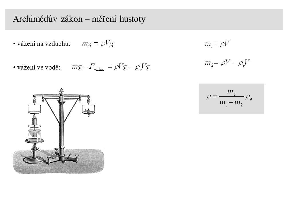 Archimédův zákon – měření hustoty vážení na vzduchu: vážení ve vodě: