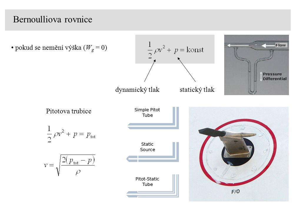 Bernoulliova rovnice pokud se nemění výška (W g = 0) dynamický tlakstatický tlak Pitotova trubice